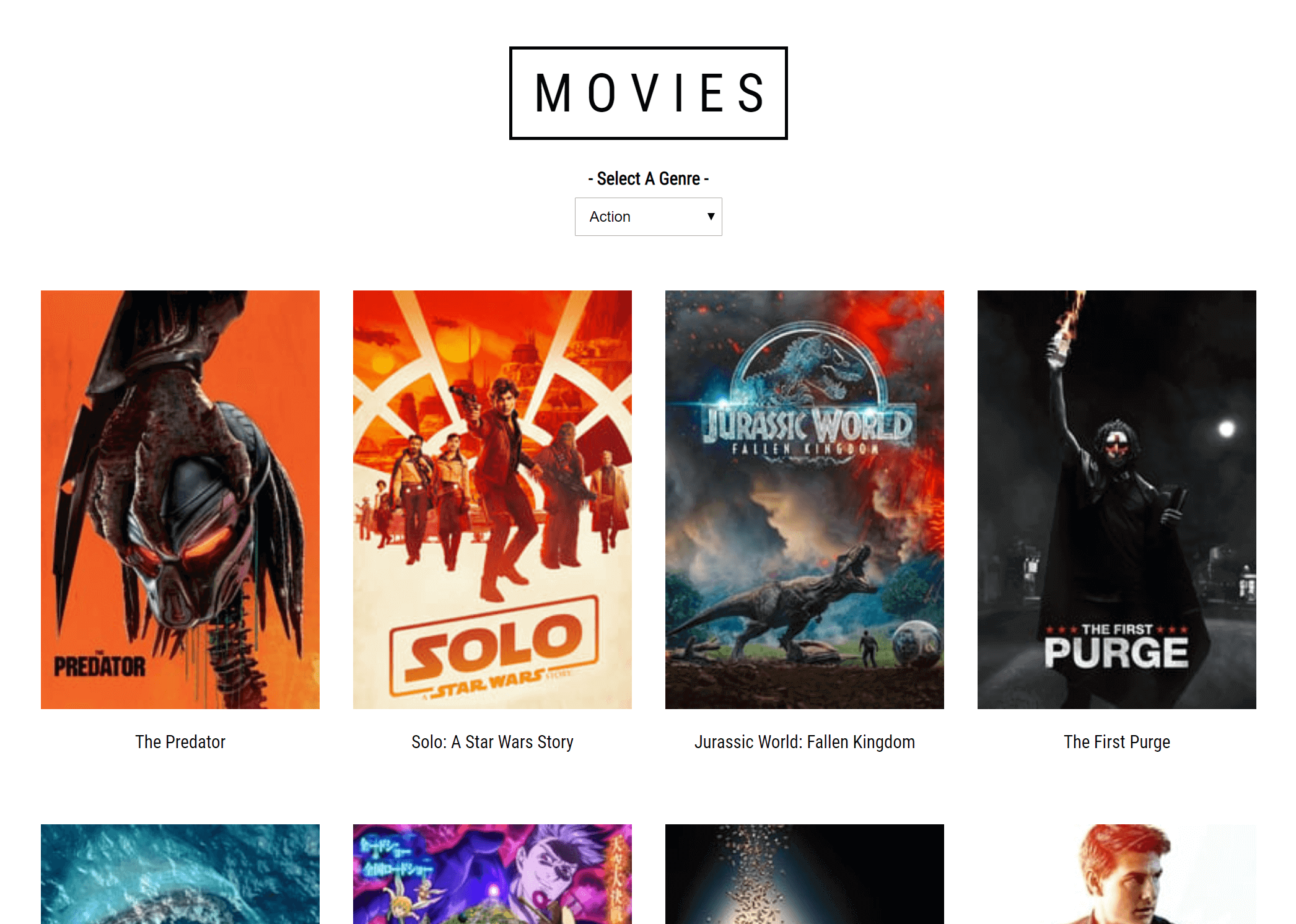 screenshot of Movie website project